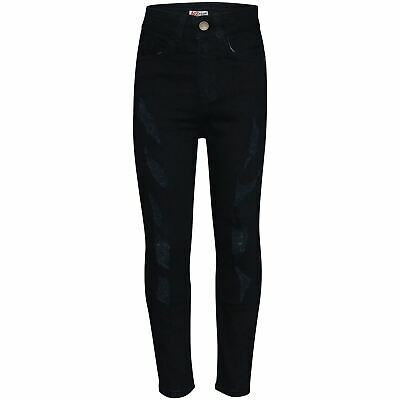 Boys Stretchy Jeans Kids Ripped Jet Black Denim Skinny Pants Jeans Trousers 5-13