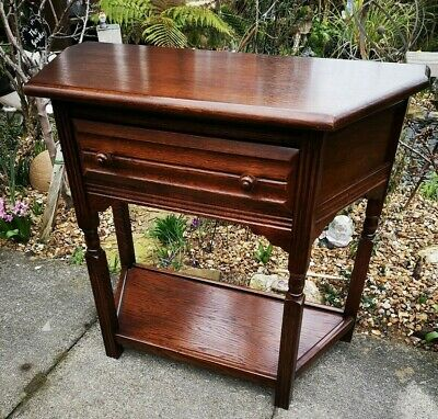 Antique style 20th century solid oak credence hall console table + courier quote