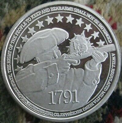 1 troy oz .999 Fine Pure Solid Silver Bullion Round/ Right to Keep and Bear Arms