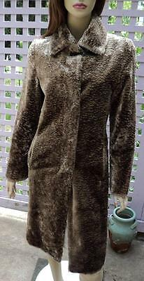 SISLEY Shimmering Taupe Brown Long Lined Faux Fur Jacket Coat (38/US 4)