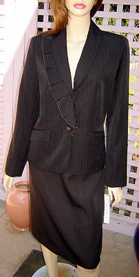 HARVE BENARD Dark Brown Chocolate Pinstripe Lined Pencil Skirt Suit (10) NWT$280