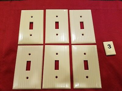 6 Vtg Leviton Deco Single Gang Switch Wall Plate Cover Ribbed Bakelite - B3