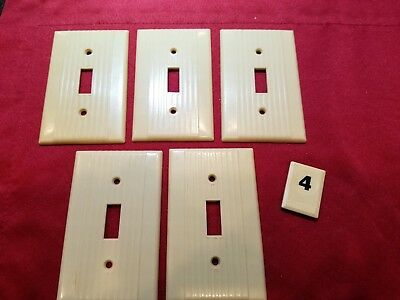 5 Vtg Leviton Deco Single Gang Switch Wall Plate Cover Ribbed Bakelite - B4
