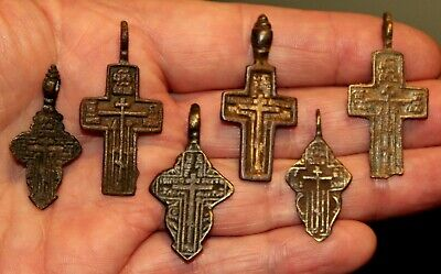 6 Very Old Antique Russian Bronze Old Believers Male & Female Crosses Cross LOT