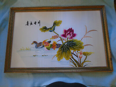 Chinese Floral  Embroidery A pair Of Mandarin Ducks Swim Near Two Flowers