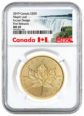 2019 Canada 1 oz Gold Maple Leaf Incuse $50 NGC MS69 FR Exclusive SKU57480