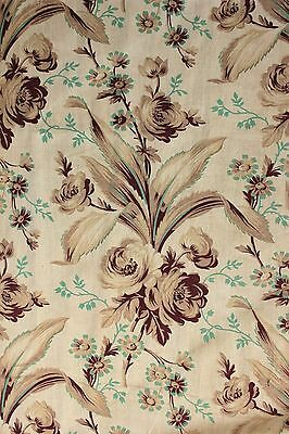 Antique French fabric Belle Epoque c1880 large scale panel curtain w/ ruffle old