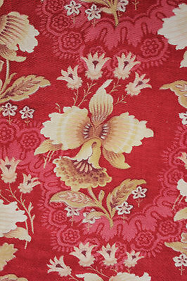 Fabric Antique French red ground Orchid design c1890 printed cotton bed curtain