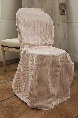 Antique French Chair Slipcover in red & white ticking fabric c1900 faded textile