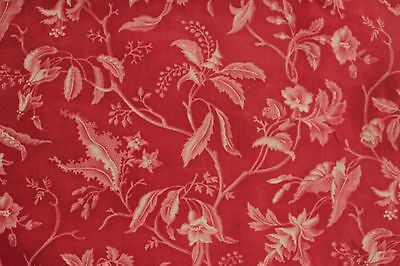Fabric Antique French Pillement inspired red resist printed textile with ticking