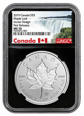 2019 Canada 1 oz Silver Maple Leaf Incuse $5 NGC MS70 FR Black Core SKU57188