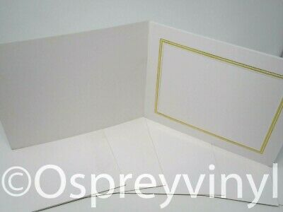 """#27 6x Slip-In Mount White/Gold 8x6"""" Photo Presentation Leatherette Embossed"""