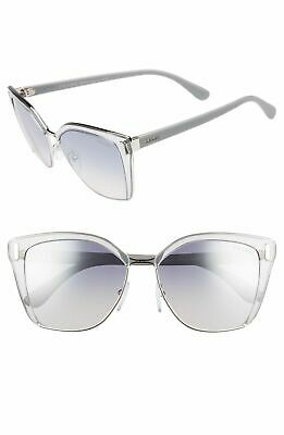 432a30b286 Prada SPR 56T 73E-5R0 Transparent Grey Silver Frame Blue Silver Sunglasses  57mm