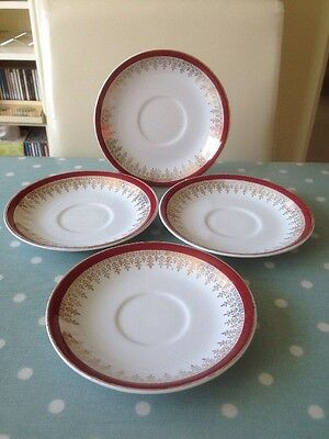 Vintage Alfred Meakin Glo-White Burgundy / Gold Saucers. Set Of 4.