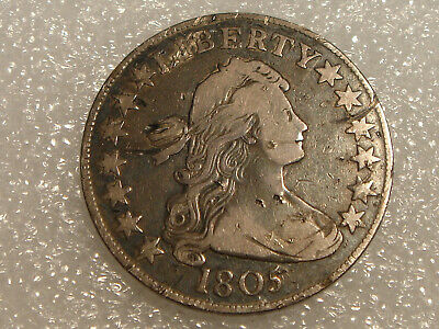 1805 Draped Bust Half Dollar F details - contact marks