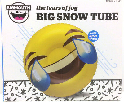 3 ft Inflatable Snow Riding Tube Smiley Emoji Design with Easy Grip Handles