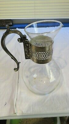 Vintage,Antique,Glass Pitcher,Caraffe,Silver Plate Handle
