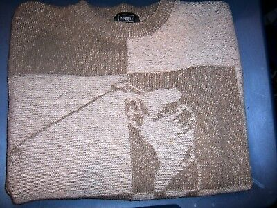 HAGGARTour two-tone Beige with Golfer Knitted on Front - SIZE XL