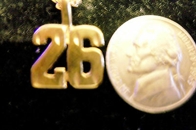 bling gold plated sports casino ball game race number 26 pendant charm necklace