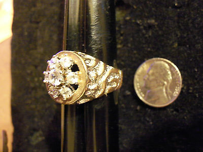 bling gold plated iced out cz cubic cluster fashion ring hip hop jewelry size 14