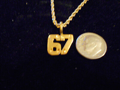 bling gold plated sport fashion number 67 pendant charm hip hop necklace jewelry