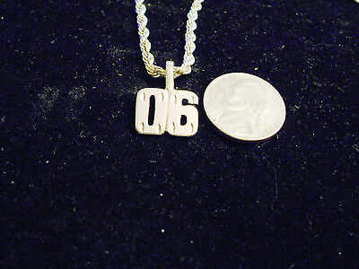 bling silver plated GAME FASHION number 06 pendant charm chain hip hop necklace
