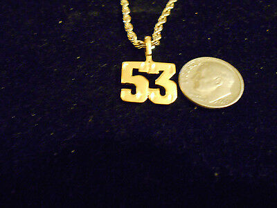 bling gold plated sportS PLAYER number 53 pendant charm hip hop necklace JEWELRY