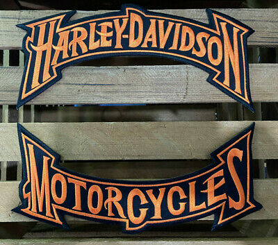 Harley Davidson Orange Trim Rockers Patches Set Large Biker