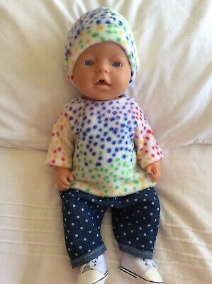 """Doll Clothes to fit 17"""" Baby Born doll ~ 3 Piece Set Pink ~ Multi Coloured Spots"""