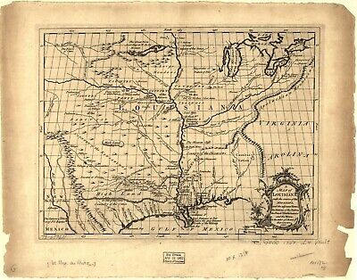 A4 Reprint of Lakes And Rivers Map Louisiana Mississippi