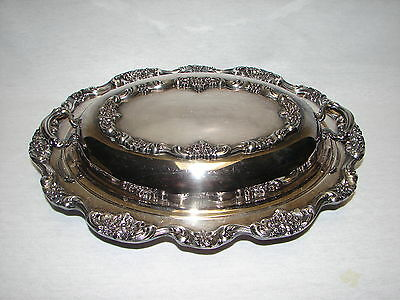 Antique Silver Or Silverplate Bowl  with Feet Handles and Lid ~ ORNATE 2 pieces