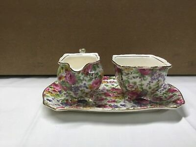 Royal Winton Summertime Chintz Grimwades Creamer Sugar platter serving set