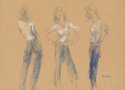 Peter Collins ARCA - Signed 1980 Pastel, Women in Jeans