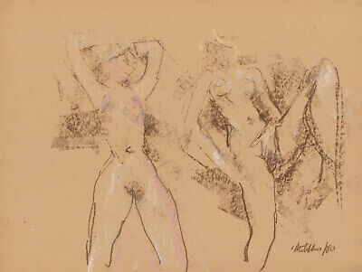 Peter Collins ARCA - Signed 1980 Crayon, Study of Two Nudes