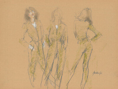 Peter Collins ARCA - Signed 1980 Graphite Drawing, Model in Green