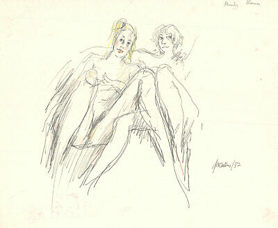 Peter Collins ARCA - Signed 1982 Graphite Drawing, Two Female Nudes