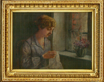 Fine Gilt Framed Early 20th Century Oil - Portrait of a Lady seated by a Window