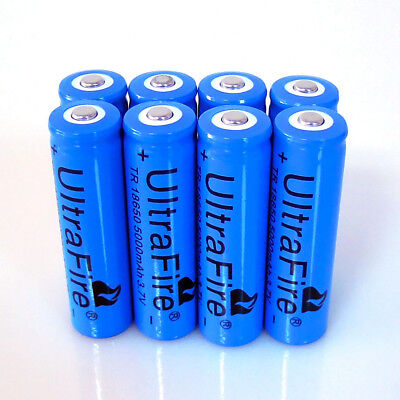 8pcs 18650 Rechargeable Battery 3.7v 5000MAH  Li-ion Batteries Cell For Headlamp