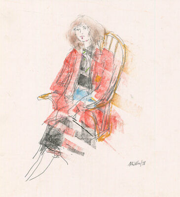 Peter Collins ARCA - Signed 1978 Crayon, Seated Woman in an Interior