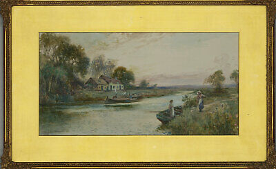 H. Stapleton Hill - Early 20th Century Watercolour, Figures in a River Landscape