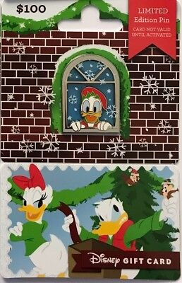 Disney Parks Donald Duck 2018 Holiday Christmas Present Gift Card Pin LE 2625