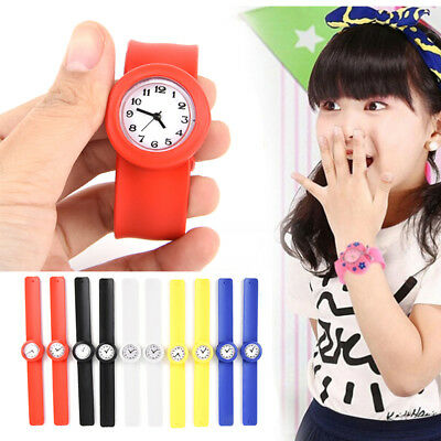 Children's Unisex Rubber Jelly Slap Wrist Watch For Boys Girls Kids Hand Gift S&
