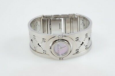 ceb3aa1904c Gucci Twirl silver pink mother of pearl GG logo heart quartz watch NEW  985