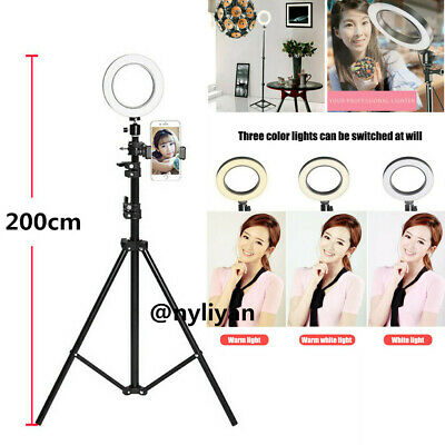 "6"" LED Selfie Ring Light with Tripod Stand Smart Phone Holder For Live 200cm"