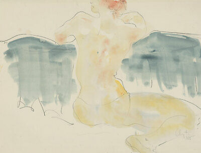 Inge Clayton FRSA (1942-2010) - Signed 1985 Watercolour, Study of a Nude