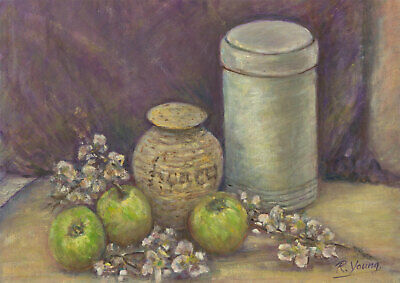 Renee Young - 20th Century Oil, Still Life, Apples and Honey
