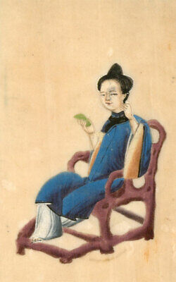 Pair of  Chinese 19th Century Gouaches on Pith Paper