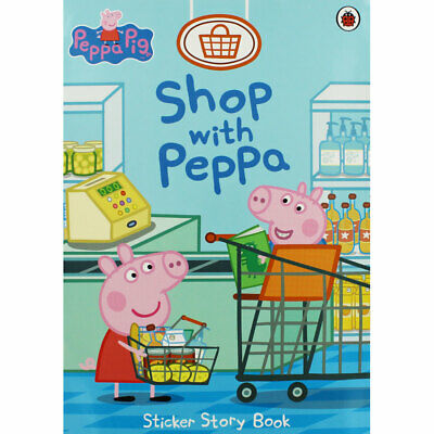 Peppa Pig - Shop with Peppa - Sticker Story Book, Children's Books, Brand New