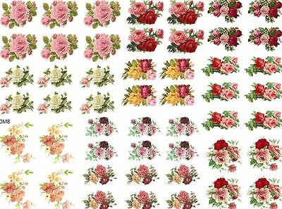 DoLLHouSe MiNiaTureS FLoWeRs RoSeS ShaBby WaTerSLiDe DeCALs Découpage DM17