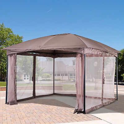 Outsunny 3.5 x 3.5M Patio Metal Gazebo Party Tent Mosquito Net Marquee Canopy